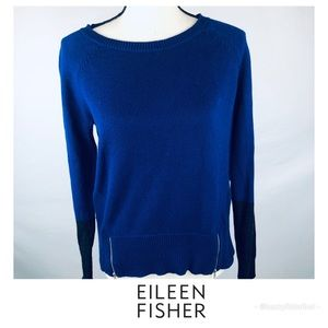 Eileen Fisher • Royal Blue Zipper Detail Sweater
